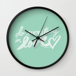 1 Corinthians 16: 14 x Mint Wall Clock