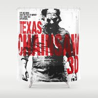 texas Shower Curtains featuring TEXAS CHAINSAW by Maioriz Home