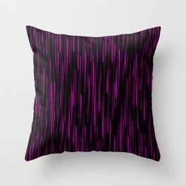 Vertical cross pink lines on a dark tree. Throw Pillow