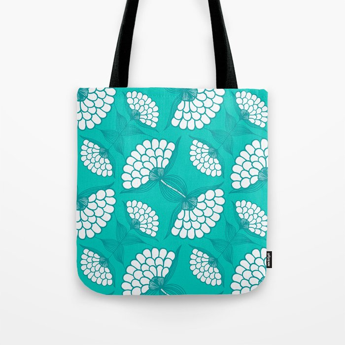 African Floral Motif on Turquoise Tote Bag