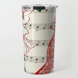 The Birds Chorus  ( Cardinal and Rose of Sharon) Travel Mug