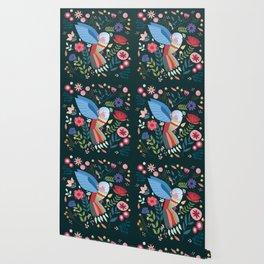 Folk Art Inspired Hummingbird With A Flurry Of Flowers Wallpaper