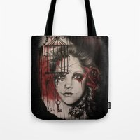 inner demons Tote Bags featuring INNER DEMONS by Sheena Pike ART