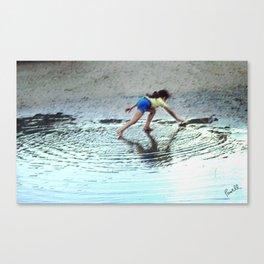 Street Scenes - Kid Water Puddle Canvas Print