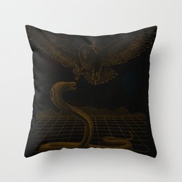 Giant Space Creature Battle Throw Pillow