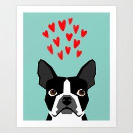 Boston Terrier - Hearts, Cute Funny Dog Cute Valentines Dog, Pet, Cute, Animal, Dog Love,  Art Print