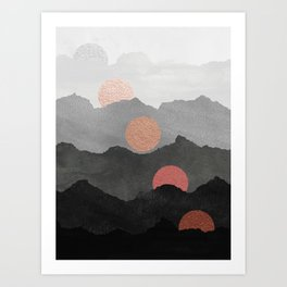 Abstract Mountains // Shades of Black and Grey Landscape Full Metallic Gold Moon Art Print