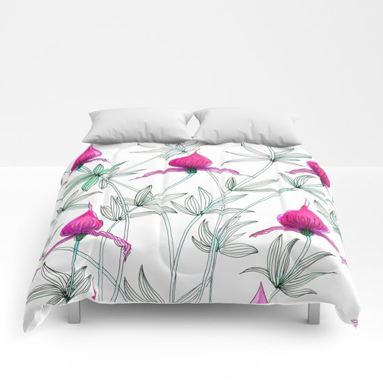 small purple flowers Comforters