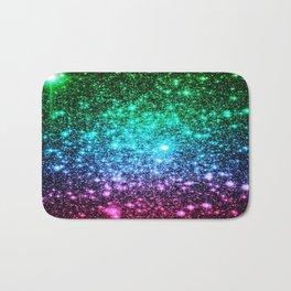 glitter Cool Tone Ombre (green blue purple pink) Bath Mat