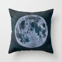 Large Night Sky Moon Print, by Christy Nyboer Throw Pillow
