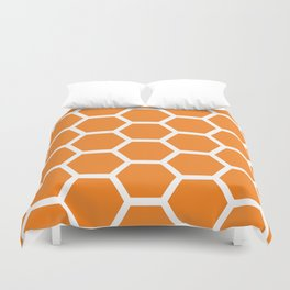 Orange Honeycomb Duvet Cover