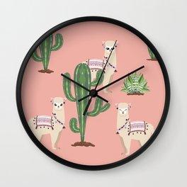 Alpaca with Cacti Wall Clock