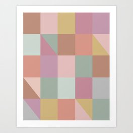 Earthy Pastels Geometric Pattern Art Print