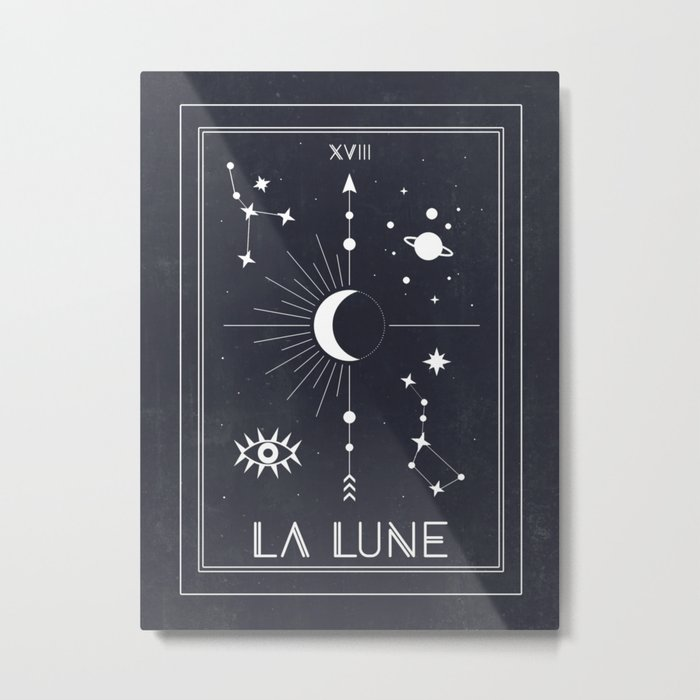 The Moon or La Lune Tarot Metal Print