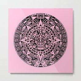 Mayan Calendar // Pink Metal Print