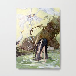 """The Marsh King's Daughter"" Fairy Art by Anne Anderson Metal Print"
