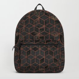 Copper Gold and Black Hexagons Geometric Pattern Backpack