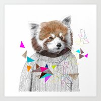 kris tate Art Prints featuring RED PANDA by Jamie Mitchell and Kris Tate by Kris Tate