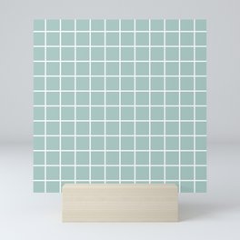 Minimalist Window Pane Grid, Sea Foam and White Mini Art Print
