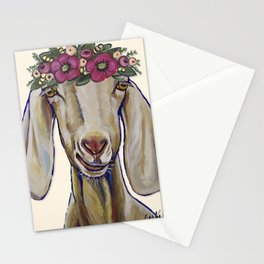 Goat Art, Margot the Goat with flower crown Stationery Cards