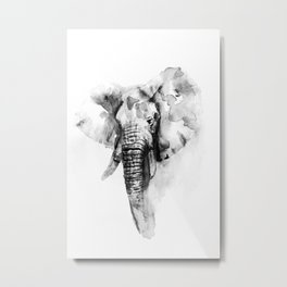 Black n White Painted elephant Metal Print