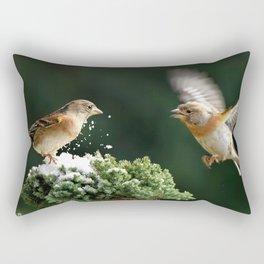 Two Super Marvelous Cute Little Sparrows Close Up Ultra HD Rectangular Pillow
