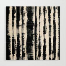 Tie-Dye Shibori Stripe BW Wood Wall Art