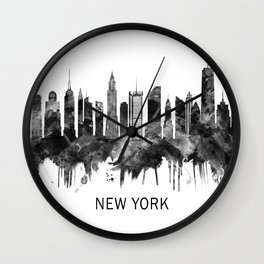 New York City Skyline BW Wall Clock