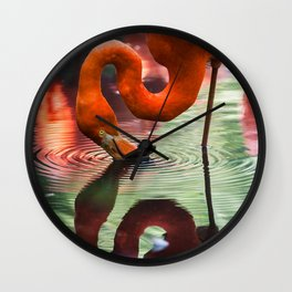 Tropical Flamingo Kiss Wall Clock