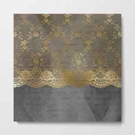 Pure elegance I- gold glitter luxury lace on black grunge background on #Society6 Metal Print