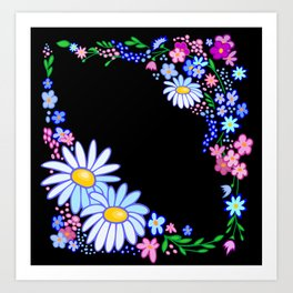 Abstract flowers frame Art Print