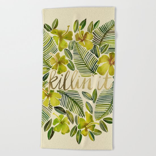 Killin' It – Tropical Yellow Beach Towel