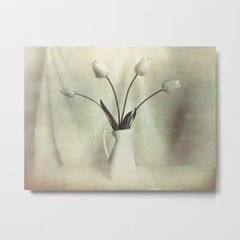 Simple Tulips in Pitcher Modern Country Modern Cottage Art A449 Metal Print