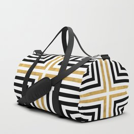 Simple Geometric Cross Pattern - White Gold on Black - Mix & Match with Simplicity of life Duffle Bag