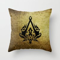 assassins creed Throw Pillows featuring Creed Assassins Grunge Logo by DavinciArt
