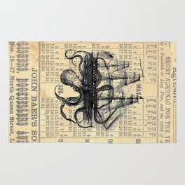 Octopus Kraken attacking Ship Antique Almanac Paper Rug