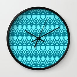 Wicker twisted pattern of wire and light blue arrows on a blue background. Wall Clock