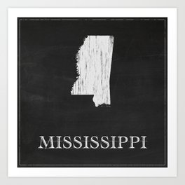 Mississippi State Map Chalk Drawing Art Print