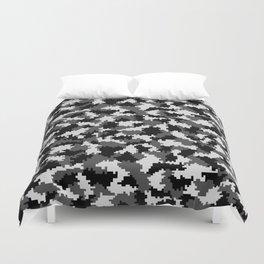 Camouflage Digital Black and White Duvet Cover