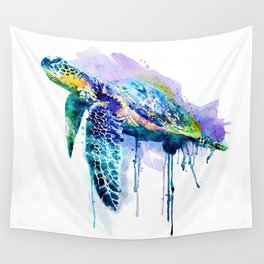 Watercolor Sea Turtle Wall Tapestry