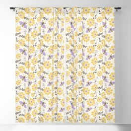 Honey Bees and Flowers - Yellow and Lavender Purple Blackout Curtain