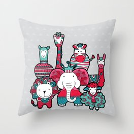 Doodle Animal Friends Pink & Grey Throw Pillow