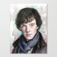 sherlock holmes Canvas Prints featuring Sherlock Holmes by Olechka