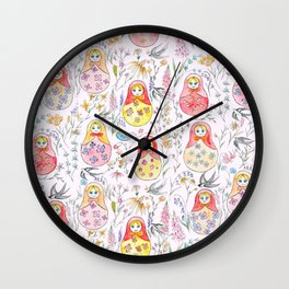 Russian dolls and flowers_ink and watercolor 3 Wall Clock