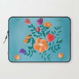 Classic floral with blue background Laptop Sleeve