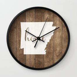 Arkansas is Home - White on Wood Wall Clock