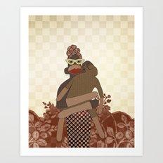 Sock Monkey Mother and Child Art Print