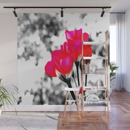 Hot Pink Flowers Pop Of Color Wall Mural