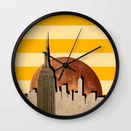 Lunar Sunset in the City Wall Clock