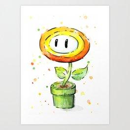 Fire Flower Watercolor Painting Mario Game Geek Art Art Print